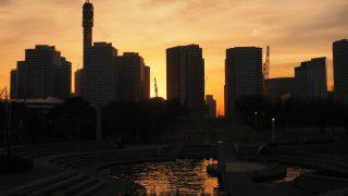 横浜観光!パシフィコ横浜でCP+2018、夕焼けの臨港パークを散歩