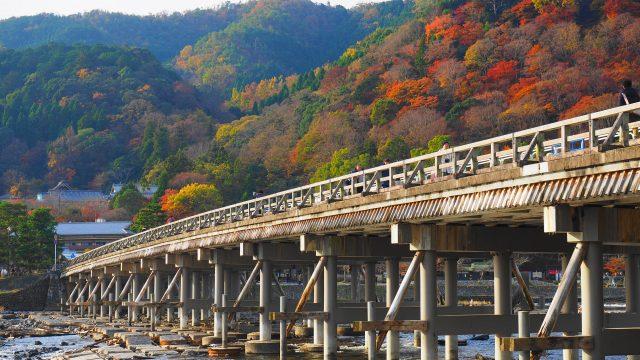 京都嵐山の紅葉と渡月橋