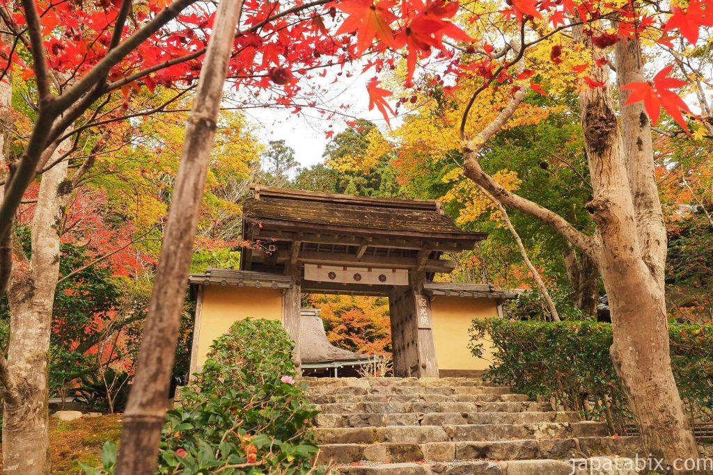 京都 大原 寂光院 山門 紅葉