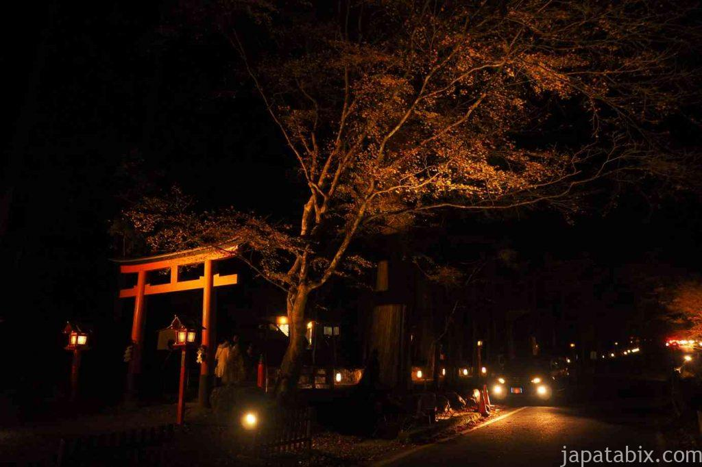 京都 貴船神社 奥宮 紅葉 夜道