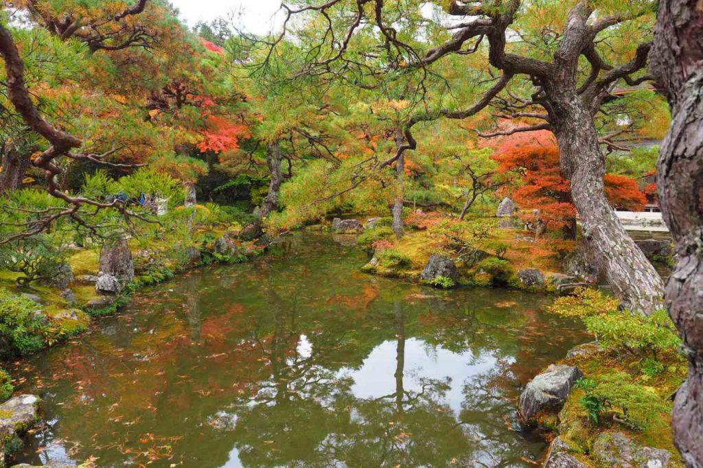 京都 銀閣寺 錦鏡池と銀閣と紅葉