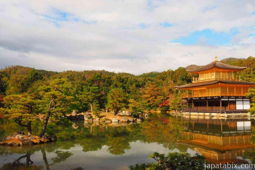 京都 金閣寺 鏡湖池と紅葉