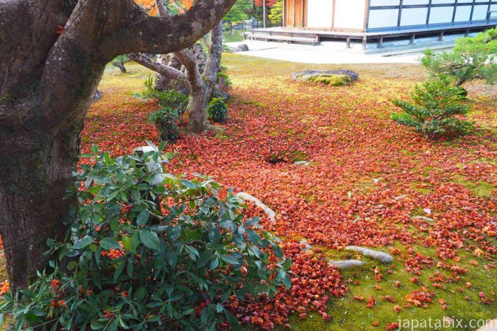 京都 金閣寺 舎利殿と散り紅葉
