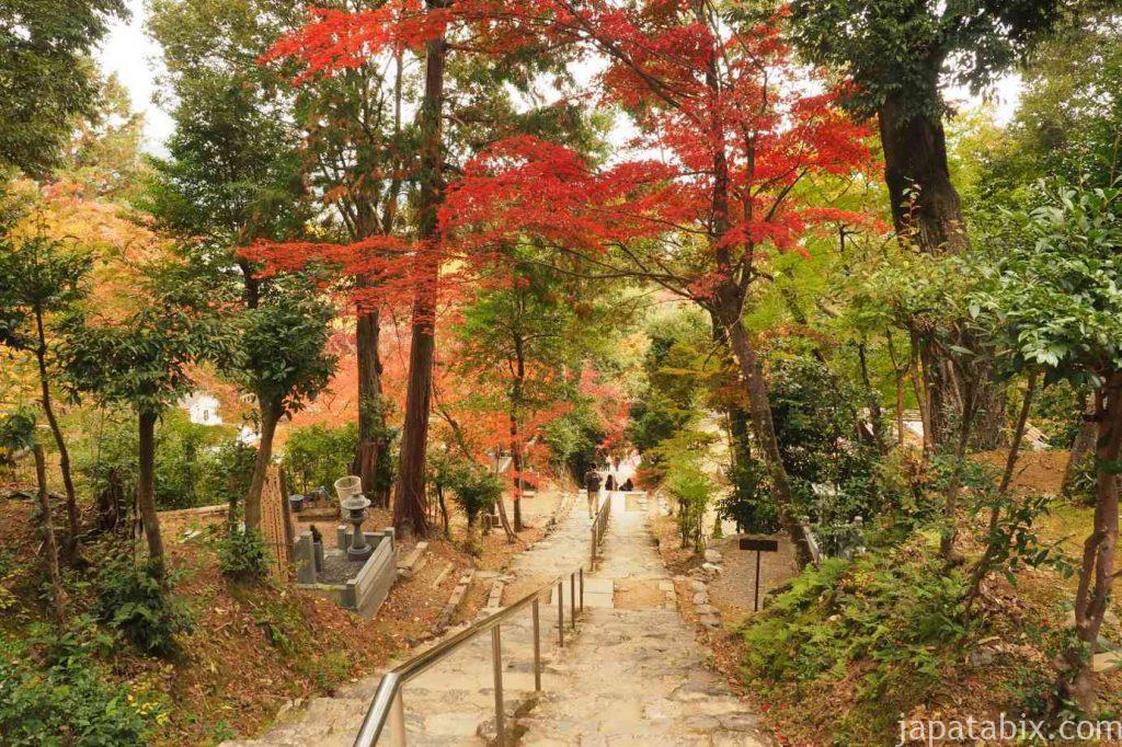 京都 嵯峨 二尊院 湛空廟と紅葉