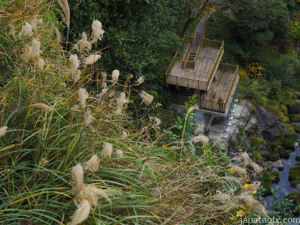 鹿児島 雄川の滝上流展望台から見た展望台