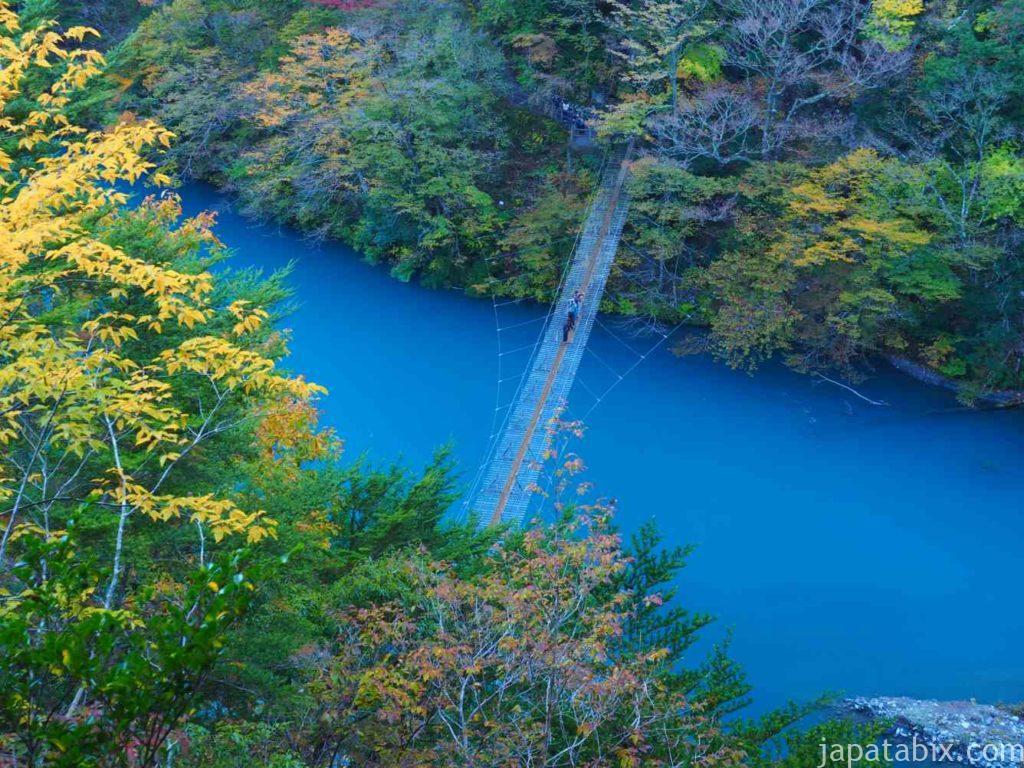 静岡県 寸又峡 夢の吊橋の紅葉を上から見る