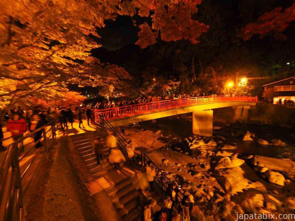 香嵐渓 紅葉 ライトアップ 待月橋