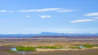釧路湿原 釧路川と阿寒連峰