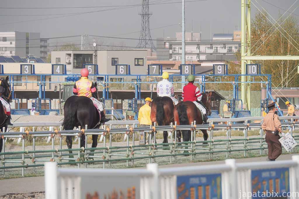 帯広競馬場 ばんえい十勝 レース ゲートへ向かうばん馬たち