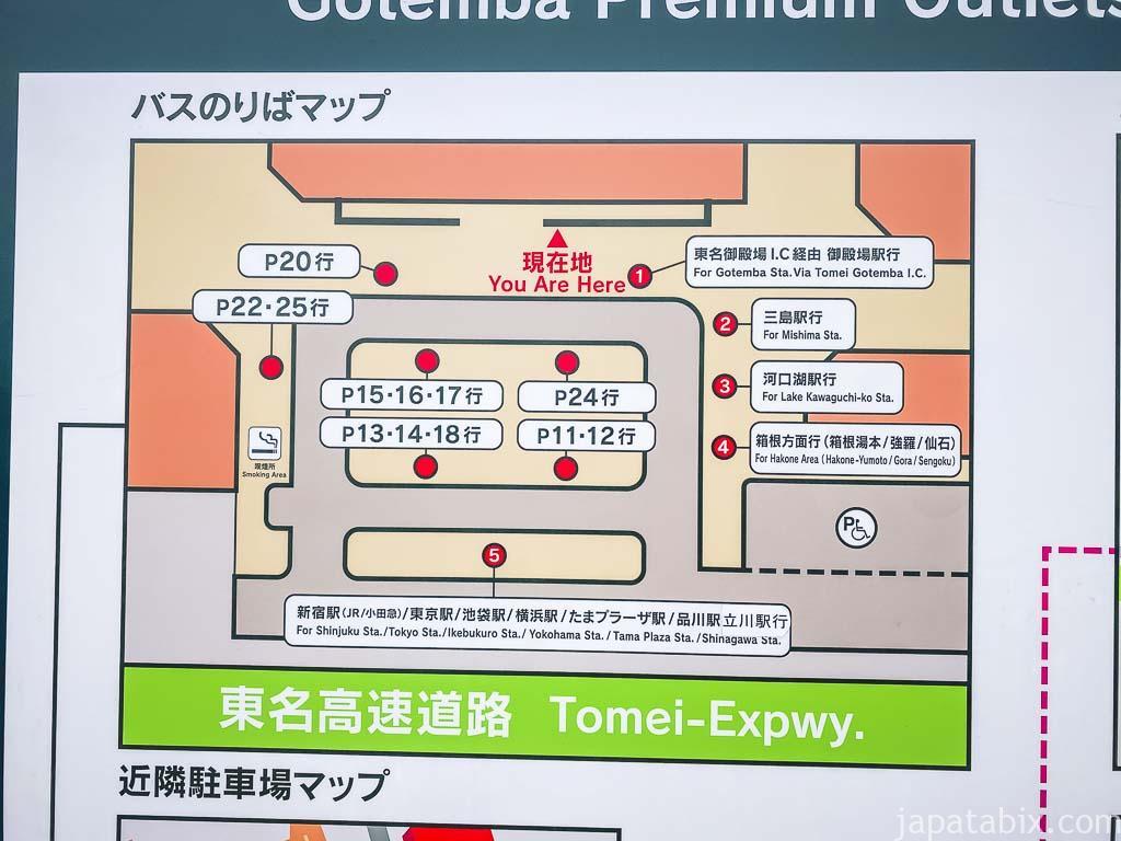 御殿場プレミアムアウトレット バス乗り場マップ