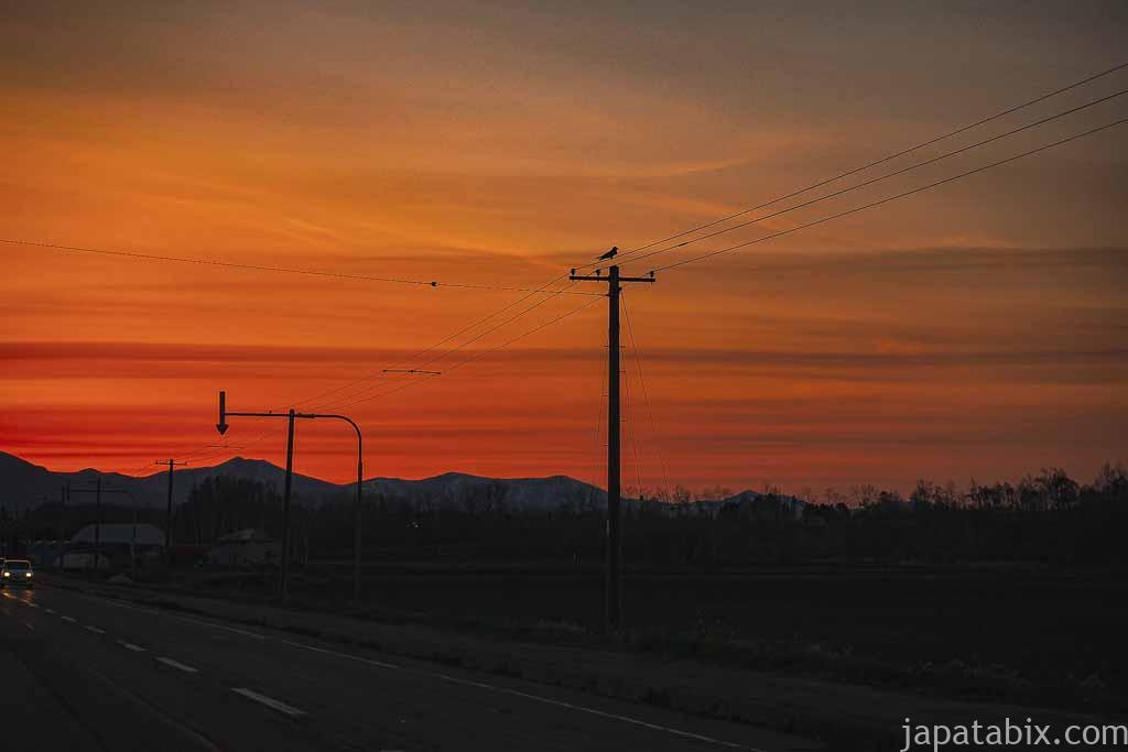 新得町の夕日