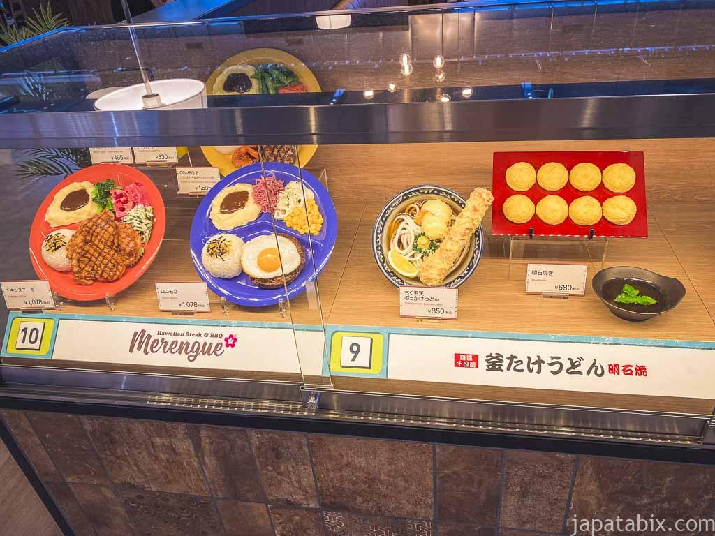 横浜ベイサイド フードコート各店舗の料理