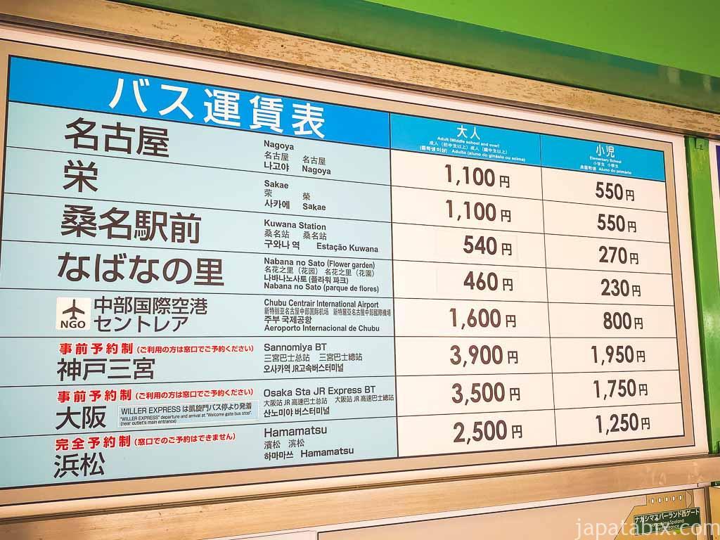三井アウトレットパーク ジャズドリーム長島 バス 運賃表