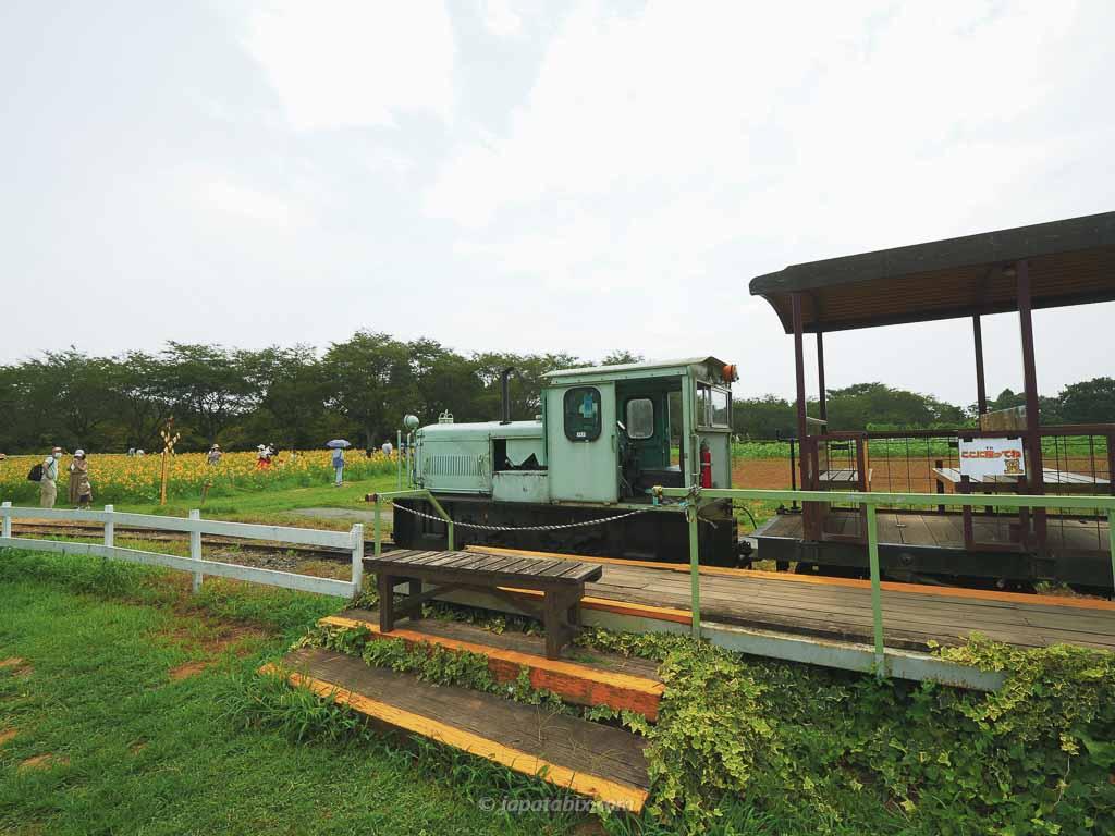 成田ゆめ牧場を走るトラクター