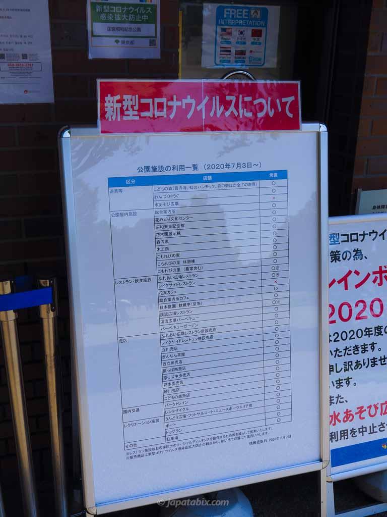 国営昭和記念公園の新型コロナ感染対策