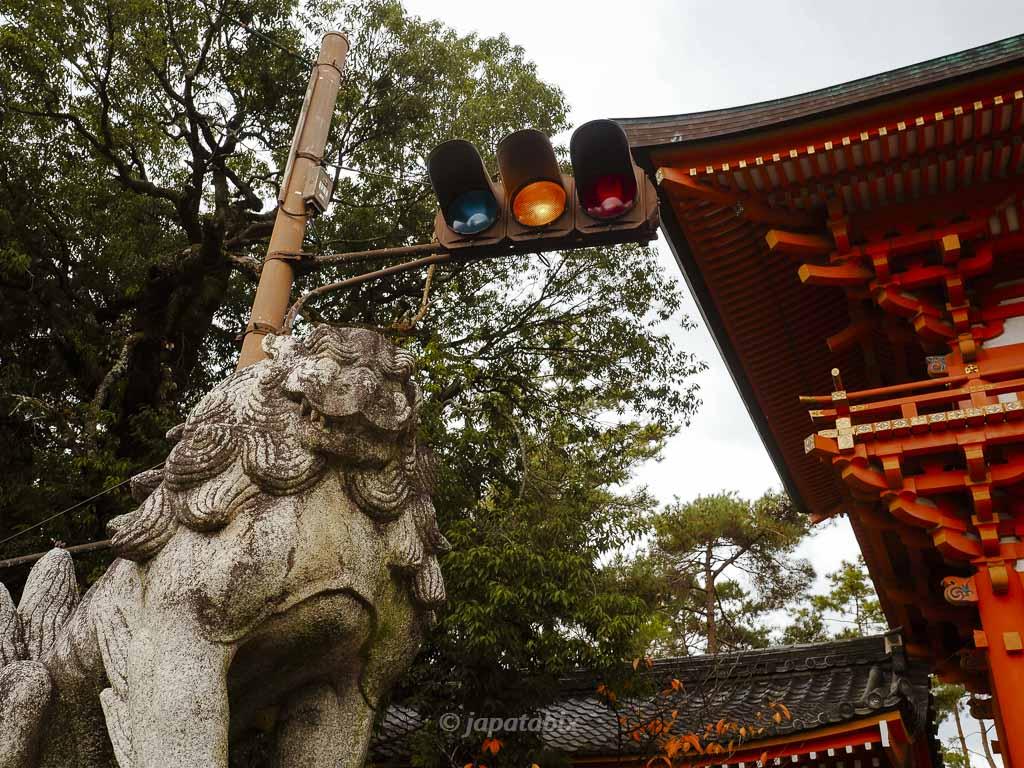 京都 今宮神社 楼門前の狛犬