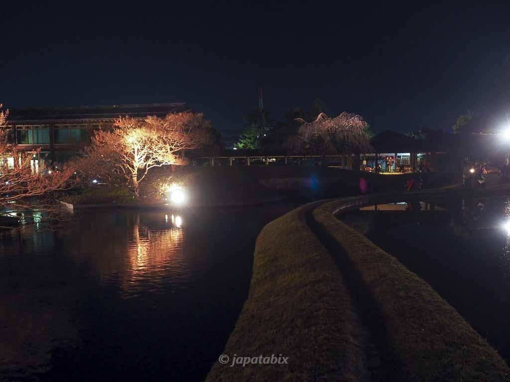 京都 梅小路公園の紅葉まつり 朱雀の庭の水鏡を渡る堤