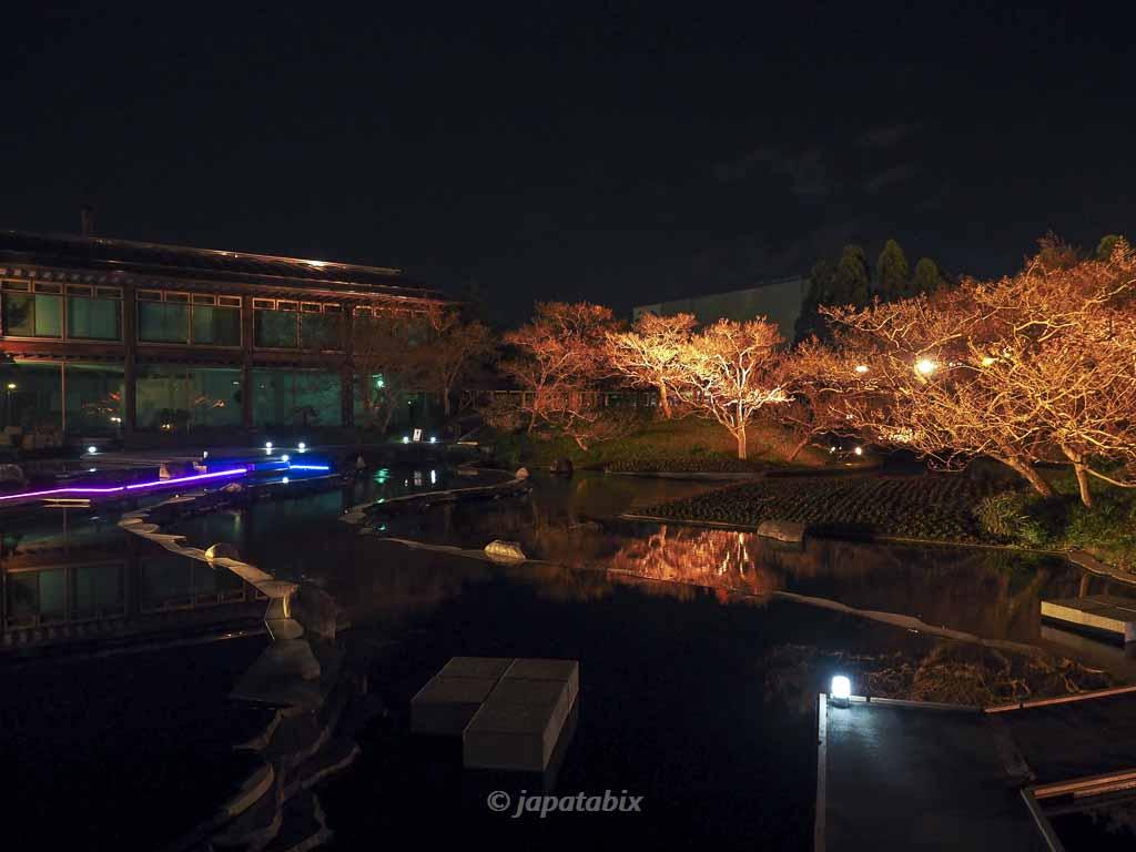 京都 梅小路公園の紅葉まつり 朱雀の庭の桟橋