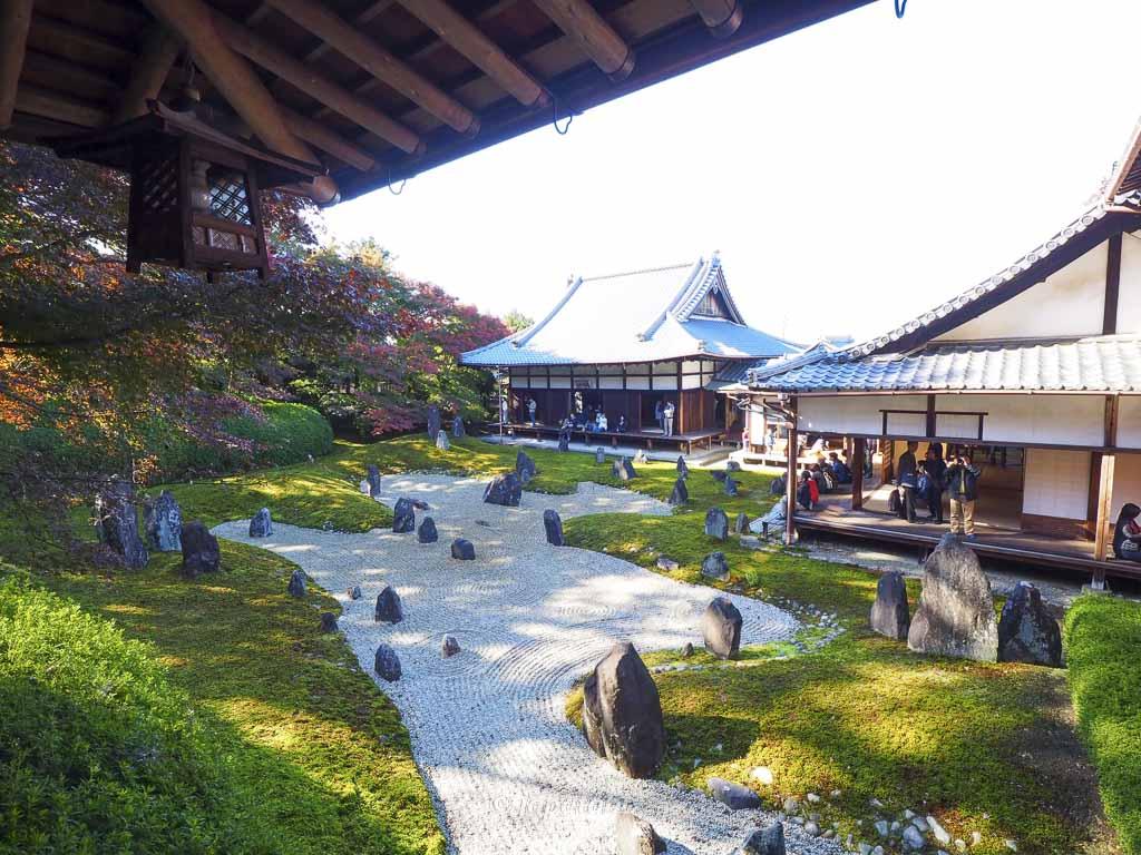 京都 光明院 茶亭 蘿月庵から見る波心の庭